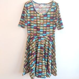 LULAROE cassette tape print dress L